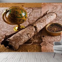 Eski Pusulalı Harita Duvar Kumaşı