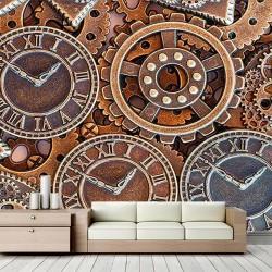 Antik Saatler Duvar Kumaşı#2