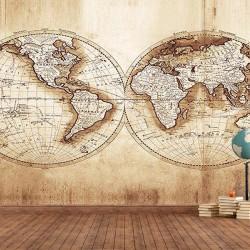 Antik Dünya Haritası  Duvar Kumaşı