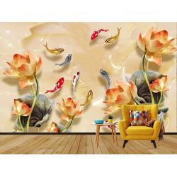 Japon Balıklar Duvar Kumaşı