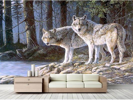 3D Kurt Görseli Duvar Kumaşı