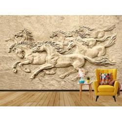 3d Atlar Duvar Kumaşı