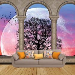Dolunay Manzaralı Duvar Kumaşı