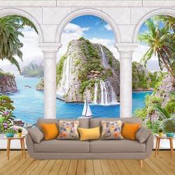 Şelale Manzara Desenli Duvar Kumaşı #3
