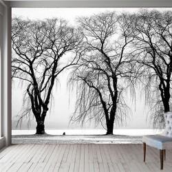 Göl Kenarında Ağaç Duvar Kumaşı