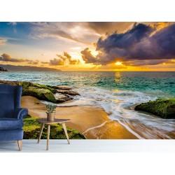 Deniz Kıyısında Gün Batımı Duvar Kumaşı