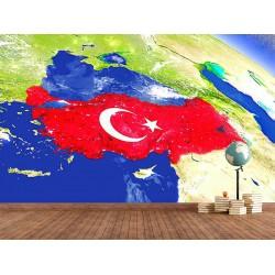 Türk Bayrağı Duvar Kumaşı