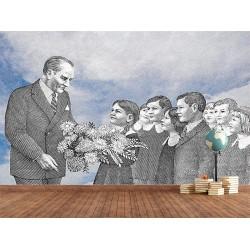 Ata Çocuklarla Duvar Kumaşı