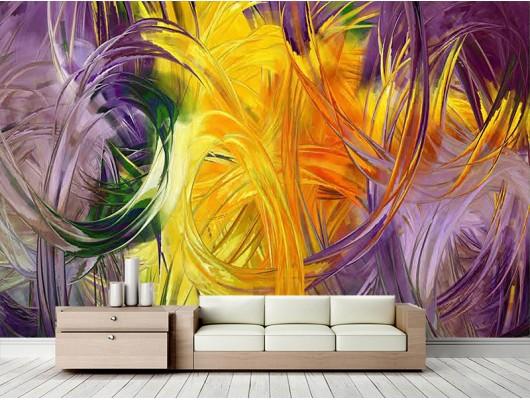 Sanatsal Desenli Duvar Kumaşı