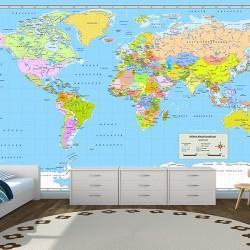 Dünya Haritası Duvar Kumaşı