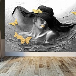 Şapkalı Kadın Posteri Duvar Kumaşı