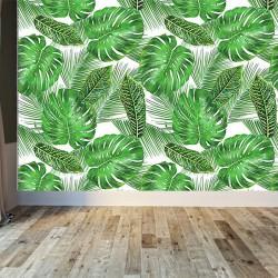 Yeşil Yapraklı Duvar Kumaşı