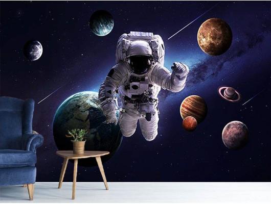 Uzayda Astronot Duvar Kumaşı