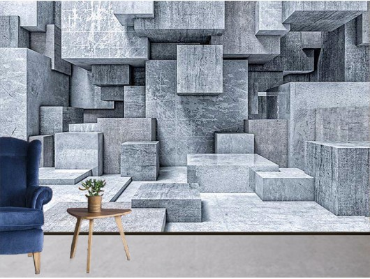 3D Taş görselli  Duvar Kumaşı